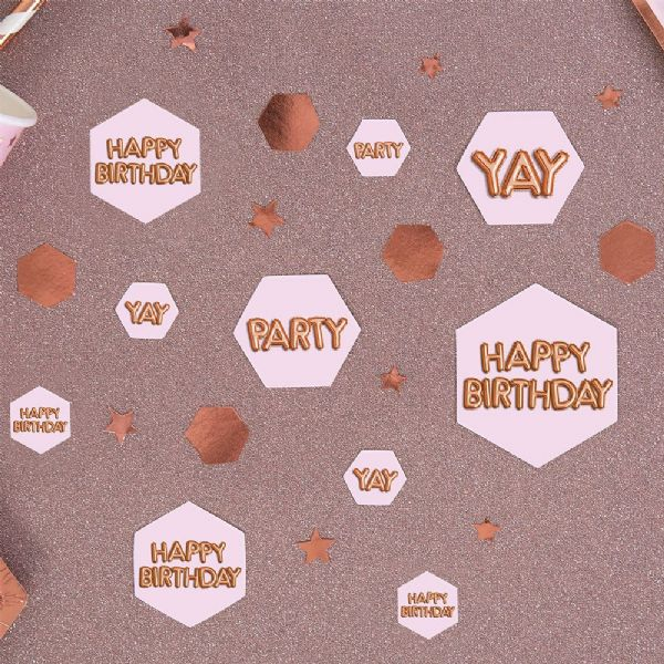 Glitz & Glamour Pink & Rose Gold Confetti Scatters Happy Birthday (100)